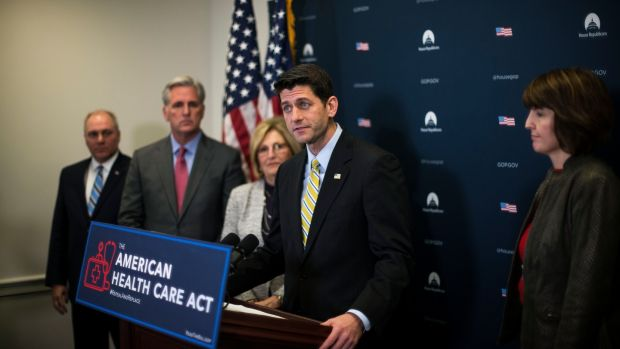 US House of Representatives speaker Paul Ryan speaks on the proposed American Health Care Act along with other Republican leaders during a news conference in Washington on March 15th. Photograph: Gabriella Demczuk/New York Times