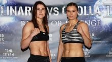 Katie Taylor and her opponent Romanian Milena Koleva. Photograph: Lawrence Lustig/Inpho
