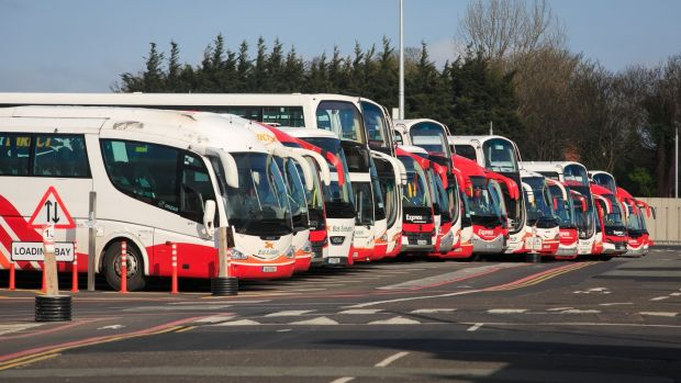 Idle Bus Éireann vehicles parked at the Broadstone depot in Dublin during the indefinite all-out strike, March 24th, 2017. Photograph: Gareth Chaney/Collins