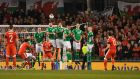 Gareth Bale of Wales shoots from a free kick during the 2018 World Cup Qualifier between Ireland and Wales at the Aviva Stadium. Photo: Stu Forster/Getty Images