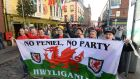 Welsh supporters in Dublin for the World Cup qualifier against the Republic of  Ireland. Photograph: Cyril Byrne