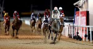 Mike Smith and  Arrogate win the $10 million Dubai World Cup at Meydan. Photograph: Ahmed Jadallah/Reuters