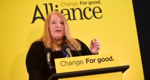 Alliance leader Naomi Long addresses her party's conference in Belfast.