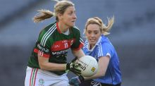 Mayo's  Cora Staunton  in action against Fiona Hudson of Dublin during the Lidl Ladies Football National League match  at Croke Park. Photograph: Brendan Moran/Sportsfile