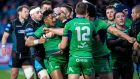 Glasgow's Finn Russell holds back Bundee Aki of Connacht as tempers flare during the Guinness Pro 12 match at Scotstoun. Photograph:  Craig Watson/Inpho