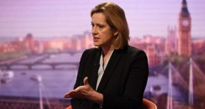 Britain's home secretary, Amber Rudd, on the BBC's 'Andrew Marr Show' on Sunday.  Photograph: Jeff Overs/BBC/via Reuters