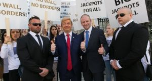 Oliver Callan as Donald Trump at the launch in Dublin of Lottoland: the Gibraltar-based firm  generated  €300m in revenue last year
