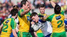 Monaghan's Conor McManus is surrounded by Donegal players during the  Allianz Football League Division One game at  Fr Tierney Park in  Ballyshannon. Photograph: Trevor Lucy/Inpho/Presseye