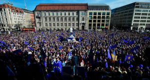 Crowds  attend a pro-Europe demonstration in Berlin on Sunday. Photograph: Tobias Schwartz/AFP/Getty Images