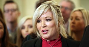 Sinn Féin's leader at Stormont, Michelle O'Neill, announces that the talks process aimed at restoring devolution in Northern Ireland has 'run its course', in Belfast. Photograph: Niall Carson/PA Wire