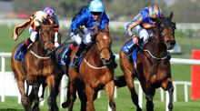 Czabo ridden by Graham Lee wins the Lodge Park Stud EBF Park Express Stakes at Naas Racecourse. Photograph: PA Wire