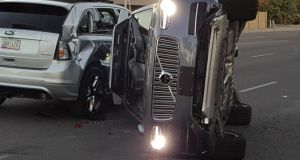 A self-driven Volvo SUV owned and operated by Uber   after a collision in Tempe, Arizona, on March 24th.  Photograph: Fresco News/Mark Beach/via Reuters