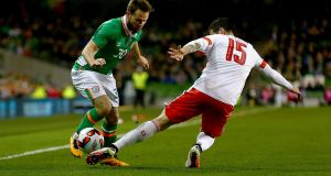 Alan Judge in action for Ireland against Switzerland in March 2016. Photograph: Donall Farmer/Inpho
