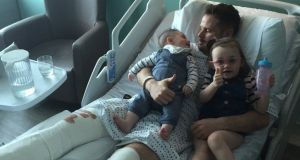 Alan Judge with his children shortly after suffering a double leg fracture.