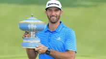 Dustin Johnson beat John Rahm by a hole to win the WGC Match Play in Texas. Photograph: Richard Heathcote/Getty