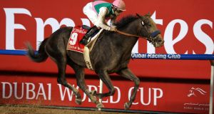 Mike Smith and Arrogate en-route to a stunning victory in the Dubai World Cup at Meydan. Photograph: Stringer/Reuters