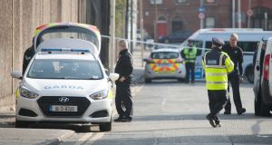 Gardaí at the scene where Eddie Staunton was shot on Railway Street, Dublin. Photograph: Gareth Chaney/Collins
