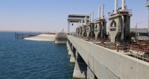 Part of Tabqa dam on the Euphrates river near Raqqa, Syria, pictured in June 2014. Photograph:  Nour Fourat/Reuters