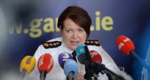 FACING THE PRESS: Garda Commissioner Nóirín O'Suillivan sets out her position at a press briefing at Garda HQ in Dublin as a row over the administration of fixed charge notices and roadside breath tests for alcohol grows. Photograph: Dara Mac Dónaill/The Irish Times
