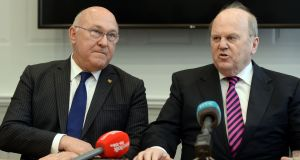 France's minister for the economy, finance and industry Michel Sapin (left), with Michael Noonan, said it supported the Border issue being given priority status. Photograph: Cyril Byrne