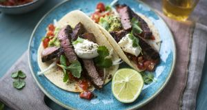 Quick-fix rib-eye steak tacos