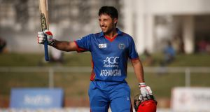 Afghanistan's Rahmat Shah, fresh from his century during the final ODI against Ireland, was dismissed for 46 as his side built an imposing first innings total in Greater Noida. Photograph: Altaf Qadri/AP
