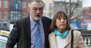 Ian Bailey arrives  at the Four Courts  with his partner, Jules Thomas for a Court of Appeal hearing. Photograph: Collins