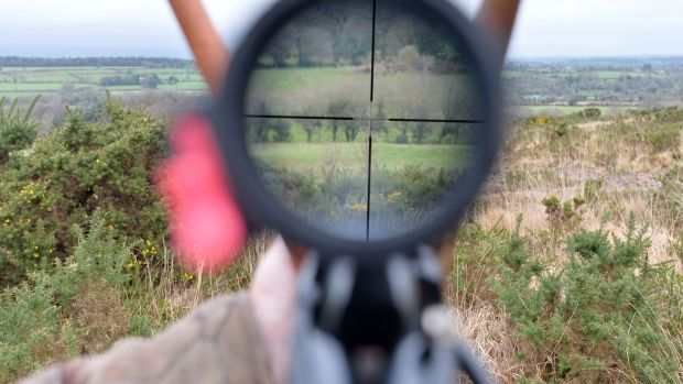 Rifle sights: John Lalor stalking for deer near Cahir, Co. Tipperary with his .308 calibre rifle. Photograph: Alan Betson