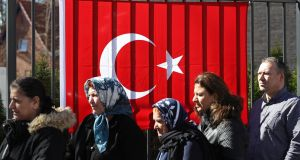 Turkish citizens lining up outside the Turkish consulate to cast their votes in the  referendum on Monday  in Berlin. Photograph: Sean Gallup/Getty Images