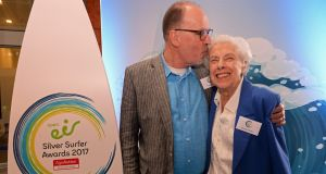 Doreen Thew, a 92-year-old from Maynooth, Co Kildare, who is  overall winner of the 2017 open eir Silver Surfer Awards, pictured with her son Peter Thew at the awards ceremony in Dublin. Photograph: Eric Luke/The Irish Times