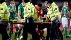 Ireland's Seamus Coleman leaves the pitch on a stretcher during Friday night's draw with Wales. Photograph: Ryan Byrne/Inpho