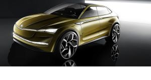 The Vision E is Skoda's working on the Volkswagen Group's MEB electric car architecture, an all-electric SUV coupe with a 500km range and robotic driving.