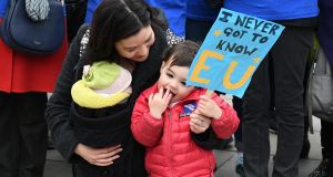 Protesters from the pro-EU group Open Britain  outside of the Houses of Parliament in  London on Wednesday. Photograph: Justin Tallis/AFP/Getty Images