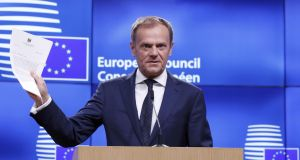 European Council president Donald Tusk holds a news conference after receiving British prime minister Theresa May's Brexit letter in notice of the UK's intention to leave the bloc. Photograph: Yves Herman/Reuters