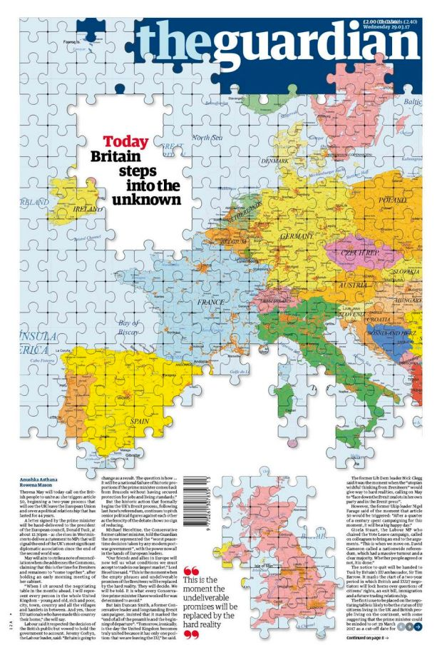The Guardian's front page – parts of Ireland included in jigsaw map of UK after Brexit