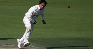 Afghanistan leg-spinner  Rashid Khan took five wickets on the second day of the Intercontinental Cup clash against Ireland in Greater Noida. Photograph:   Francois Nel/Getty Images