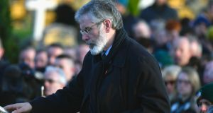 Sinn Féin president Gerry Adams speaks at the funeral of  Martin McGuinness in Derry. Photograph: Jeff J Mitchell/Getty Images