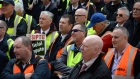 Bus Eireann staff protest outside Leinster House