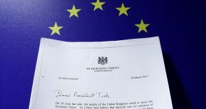 A copy of  Theresa May's Brexit letter in notice of the UK's intention to leave the bloc under Article 50 of the EU Treaty
