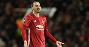 Manchester United striker Zlatan Ibrahimovic  has scored 26 goals in all competitions this season. Photograph:  Oli Scarff/AFP/Getty Images