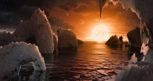 An artist's concept allows us to imagine what it would be like to stand on the surface of the exoplanet TRAPPIST-1f, located in the TRAPPIST-1 system in the constellation Aquarius. Illustration: Nasa/Getty Images