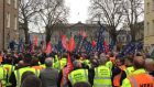 Striking Bus Éireann workers and colleagues outside Leinster House  as their strike reaches its sixth day on Wednesday, March 29th. Photograph: Brian Hutton/PA