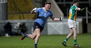Dublin's Tom Fox celebrates scoring a goal in the EirGrid Leinster U21 Football Championship Final against Offaly at  O'Moore Park in Portloaise. Photograph:  Morgan Treacy/Inpho