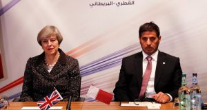 British prime minister Theresa May and Qatar prime minister Abdullah bin Nasser bin Khalifa Al Thani in  Birmingham for the  Qatar-UK Business and Investment Forum. Photograph: Darren Staples / PA
