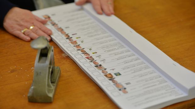 A ballot paper with lengthy list of candidates in the 2016 general election. File photograph: Alan Betson