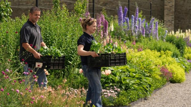 OPW gardeners Brian Quinn and Meeda Downey in Ashtown walled garden. Photo credit Richard Johnston