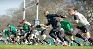 Ireland's rugby squad train at Carton House. Photograph: INPHO/Morgan Treacy