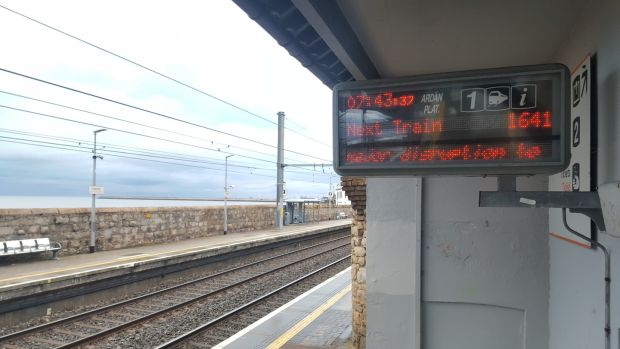 A passenger information sign at Seapoint Dart station in south Dublin on Friday morning. The vast majority of Dart, Irish Rail and Dublin Bus services are not operating today. Photograph: Rachel Flaherty