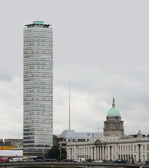 A computer-generated image of the new Liberty Hall planned by a business associated with US President Donald Trump