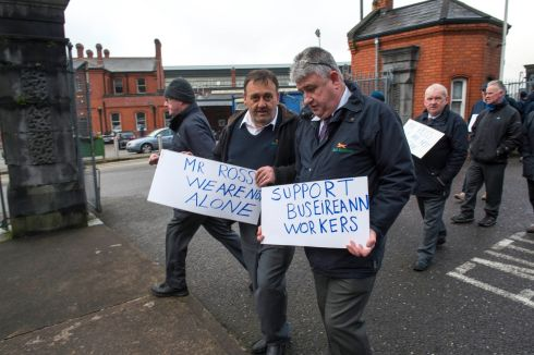 Workers on picket at Kent Train Station Cork.  Photograph: Michael Mac Sweeney/Provision